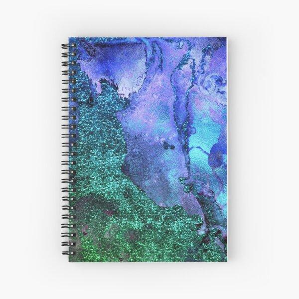 Gold Indigo Blue and Green Malachite Marble Spiral Notebook