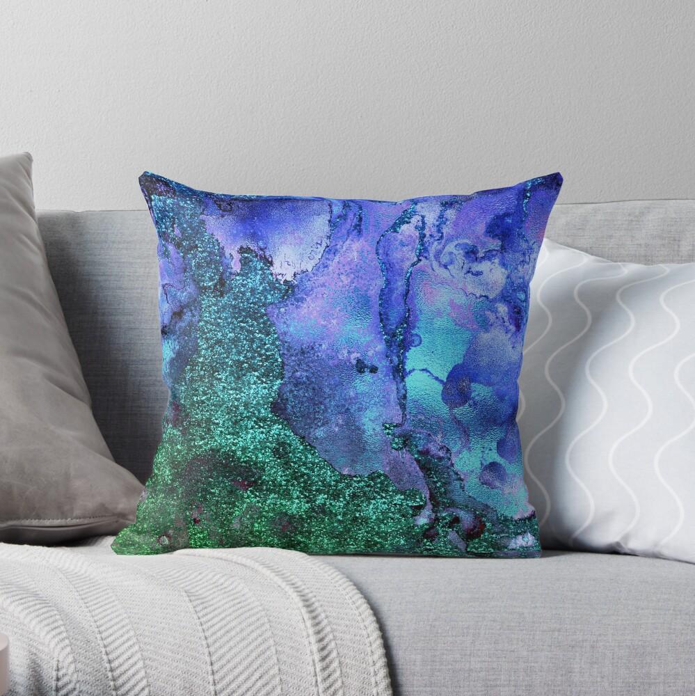 Gold Indigo Blue and Green Malachite Marble Throw Pillow
