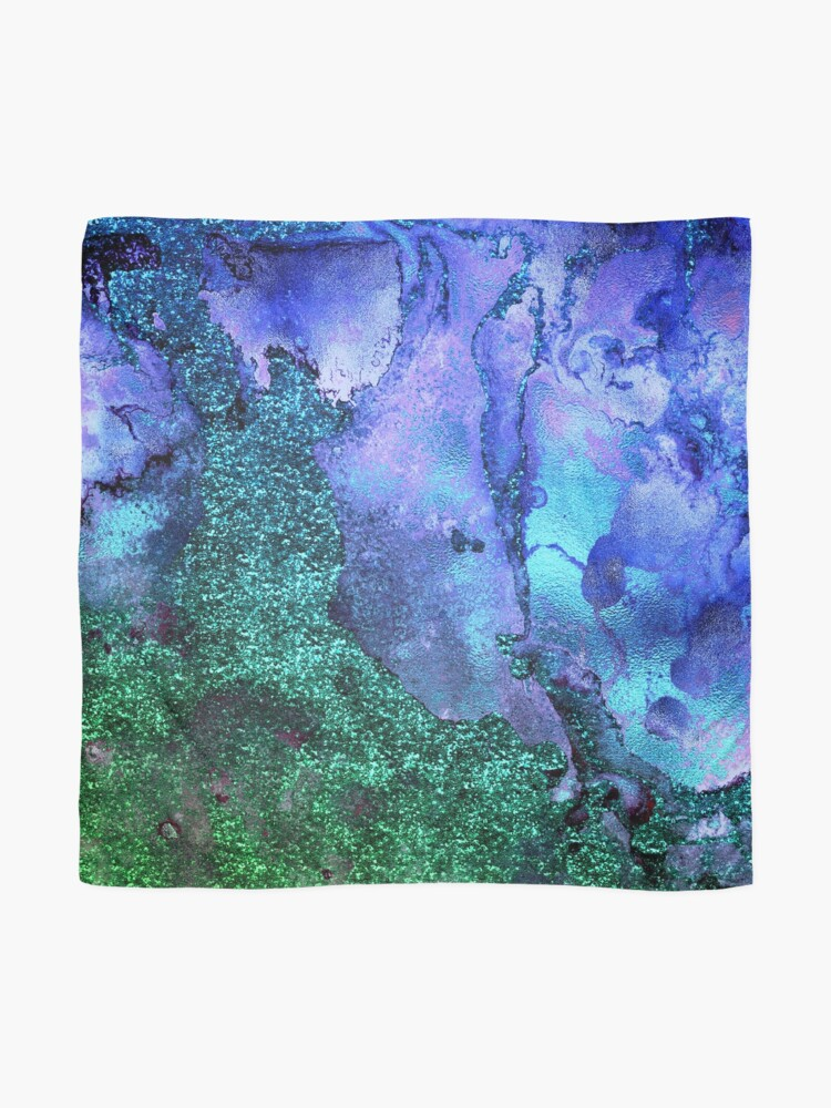 Alternate view of Gold Indigo Blue and Green Malachite Marble Scarf