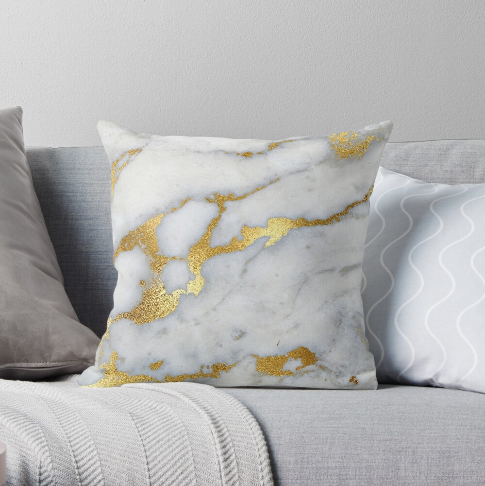 Gold Sparkle Veined Marble Throw Pillow