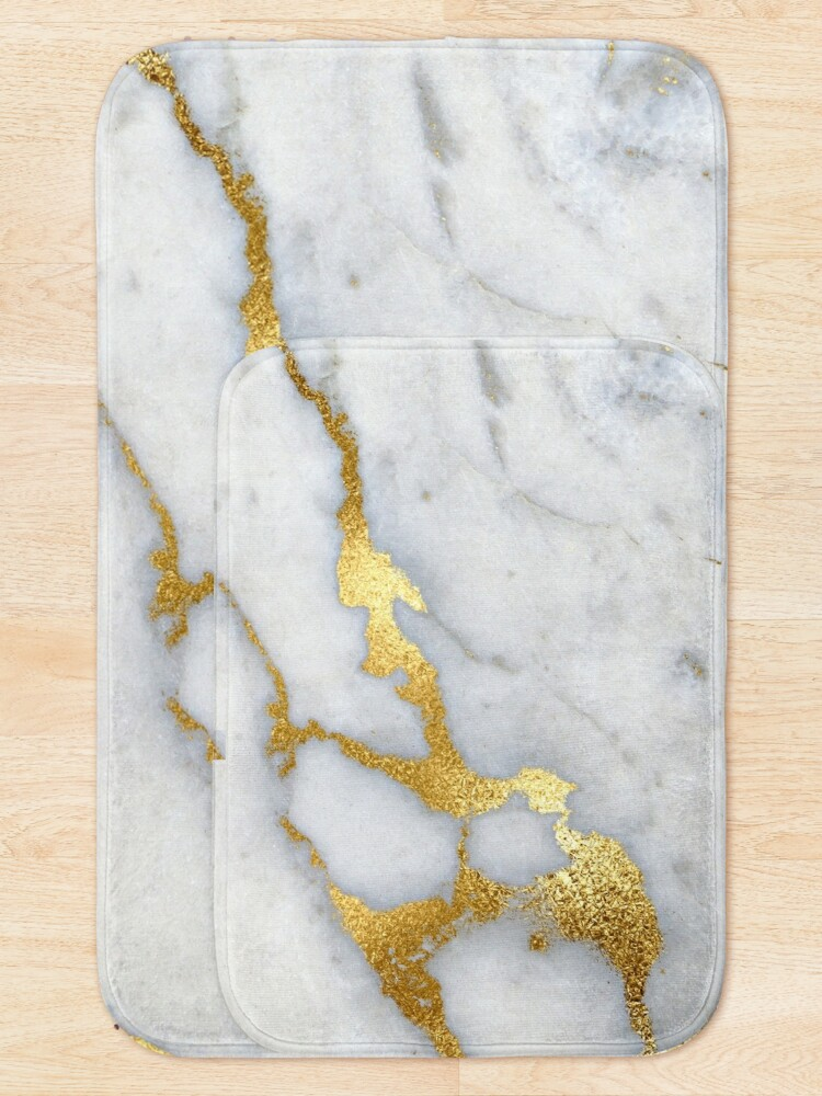 Alternate view of Gold Sparkle Veined Marble Bath Mat