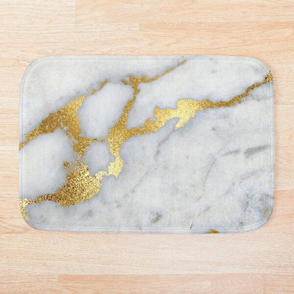 Gold Sparkle Veined Marble Bath Mat