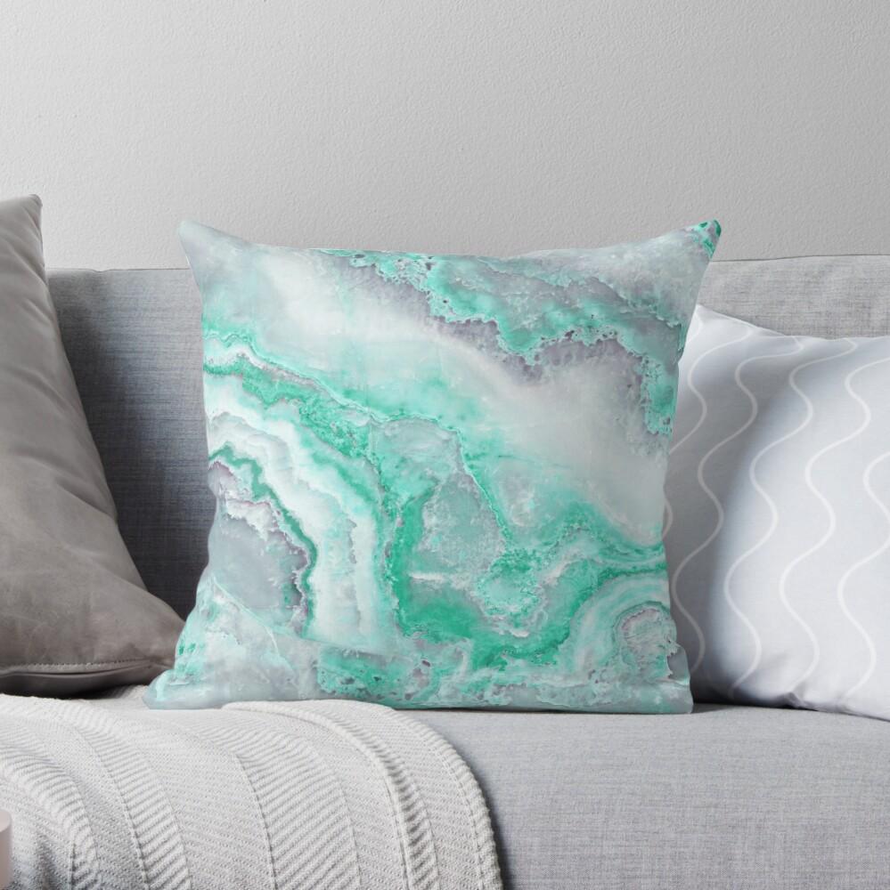 Luxury Mermaid Green Agate Marble Geode Gem Throw Pillow