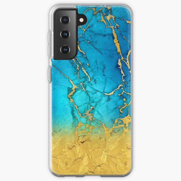 Teal Blue Marble and Gold Glitter  Samsung Galaxy Soft Case