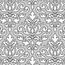 Scroll Damask Outline Pattern Black White Gray by NataliePaskell