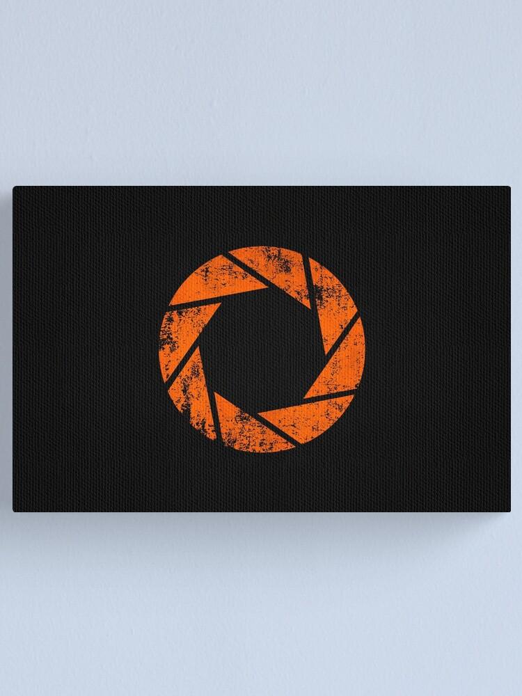 Alternate view of Aperture Science (Orange) Logo · Distressed Canvas Print