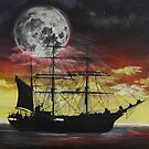 Ship and Moon Against Red Sky by Alannis Turner
