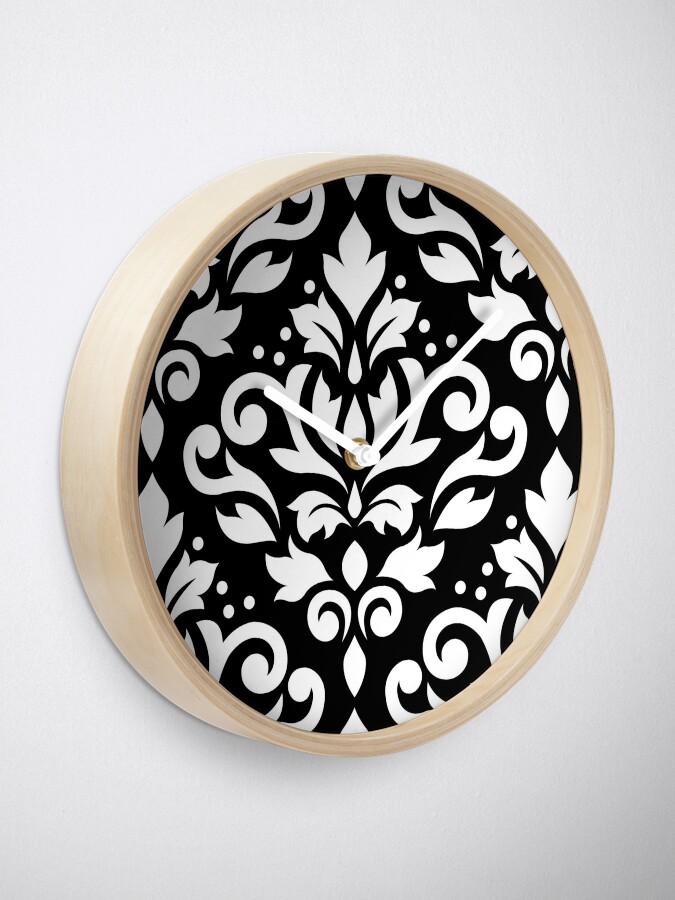 Alternative Ansicht von Scroll Damask Large Muster Weiß auf Schwarz Uhr