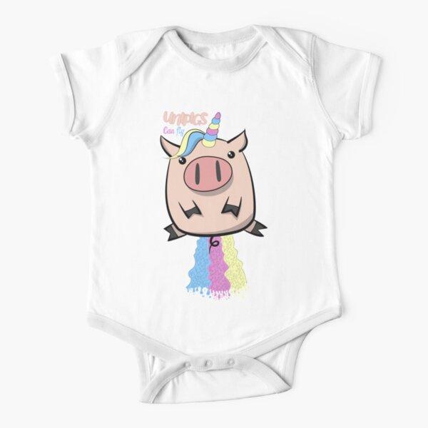 Unipig Unicorn Pigs Can Fly Short Sleeve Baby One-Piece