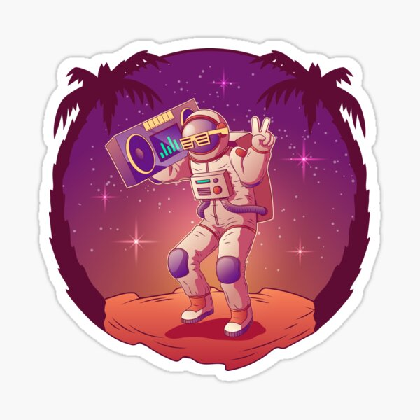 Dancing Astronaut Spacemen Character Space Suit Sunglasses Sticker