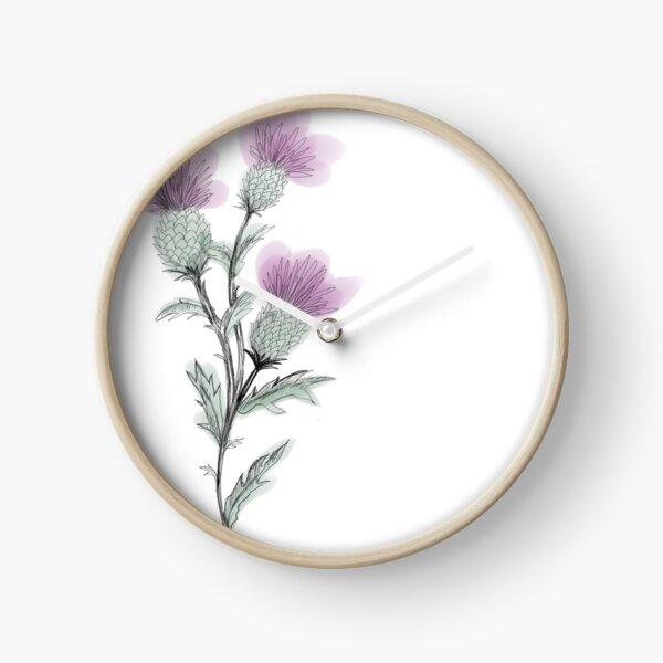 Watercolor Thistle  Clock