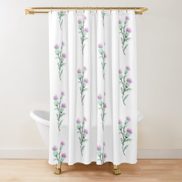 Watercolor Thistle  Shower Curtain