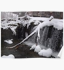 a snowy day at the waterfall Poster