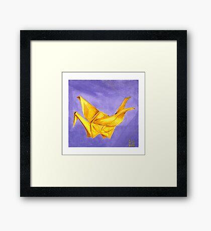 Yellow Paper Crane Framed Print