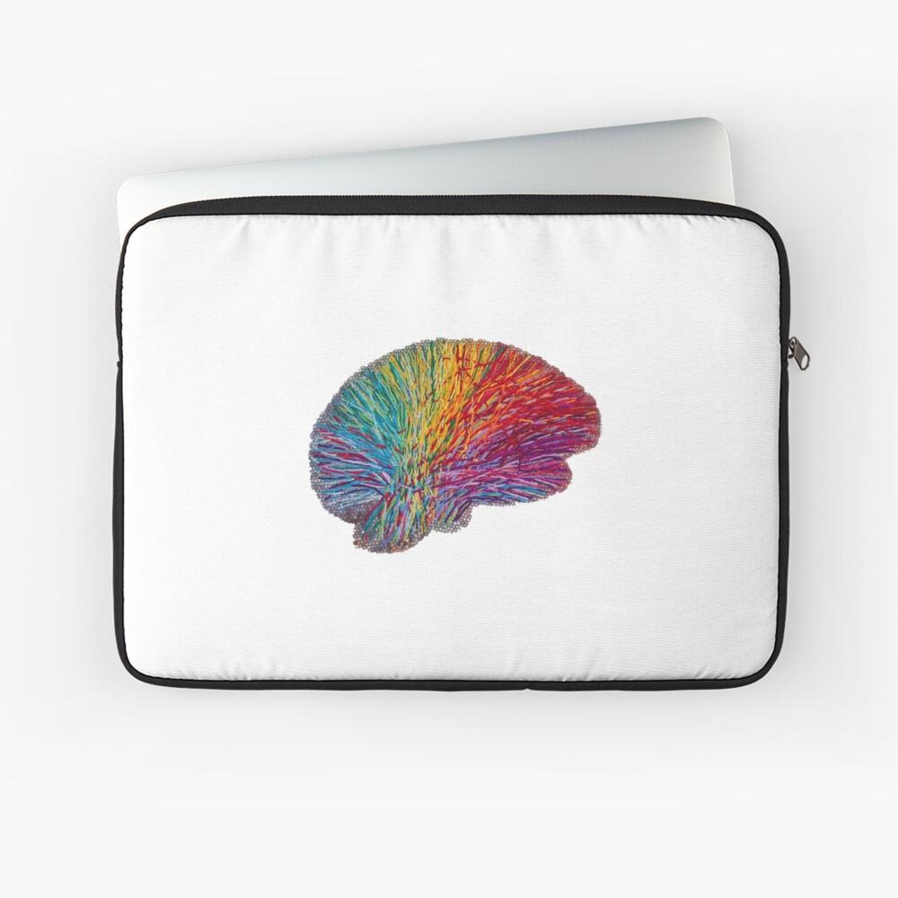 White Matter Brain - Embroidered Look - Rainbow Brain  Laptop Sleeve