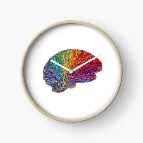 White Matter Brain - Embroidered Look - Rainbow Brain  Clock