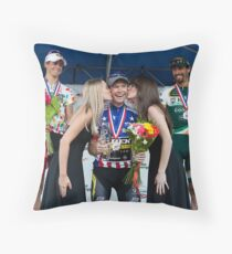 Ben King wins USA Cycling Championship. Throw Pillow