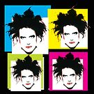 ROBERT SMITH FROM THE CURE - COLOURFUL WARHOL-STYLE 4-UP COLLAGE by Clifford Hayes