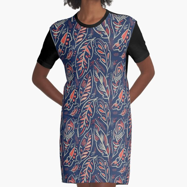 Magical Feathers Graphic T-Shirt Dress