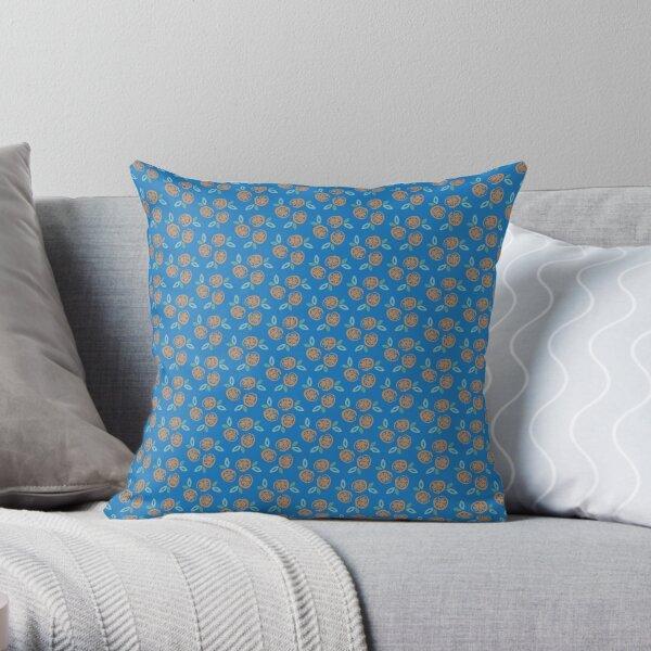 Oranges on Blue Throw Pillow