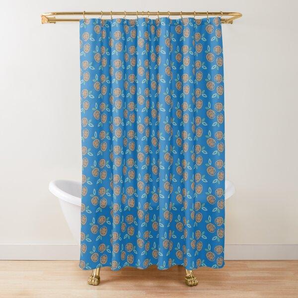 Oranges on Blue Shower Curtain