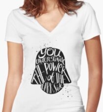 you under estimate the power typography  Women's Fitted V-Neck T-Shirt