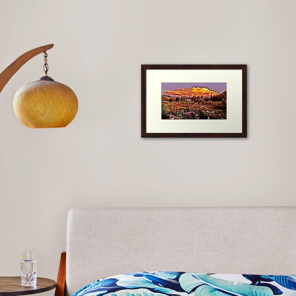 Sunset over the Colorado Rocky Mountain Sculpture Garden Framed Art Print