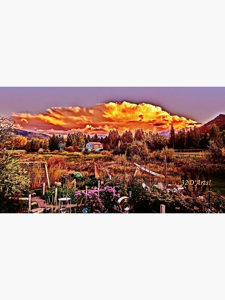 Sunset over the Colorado Rocky Mountain Sculpture Garden by 32DARTS