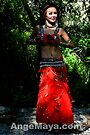 Ange Maya wears Red Love costume dancing in Forest by ANGE MAYA