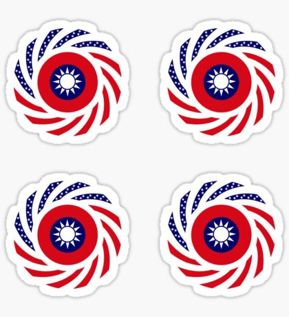 Taiwanese American Multinational Patriot Flag Series Glossy Sticker