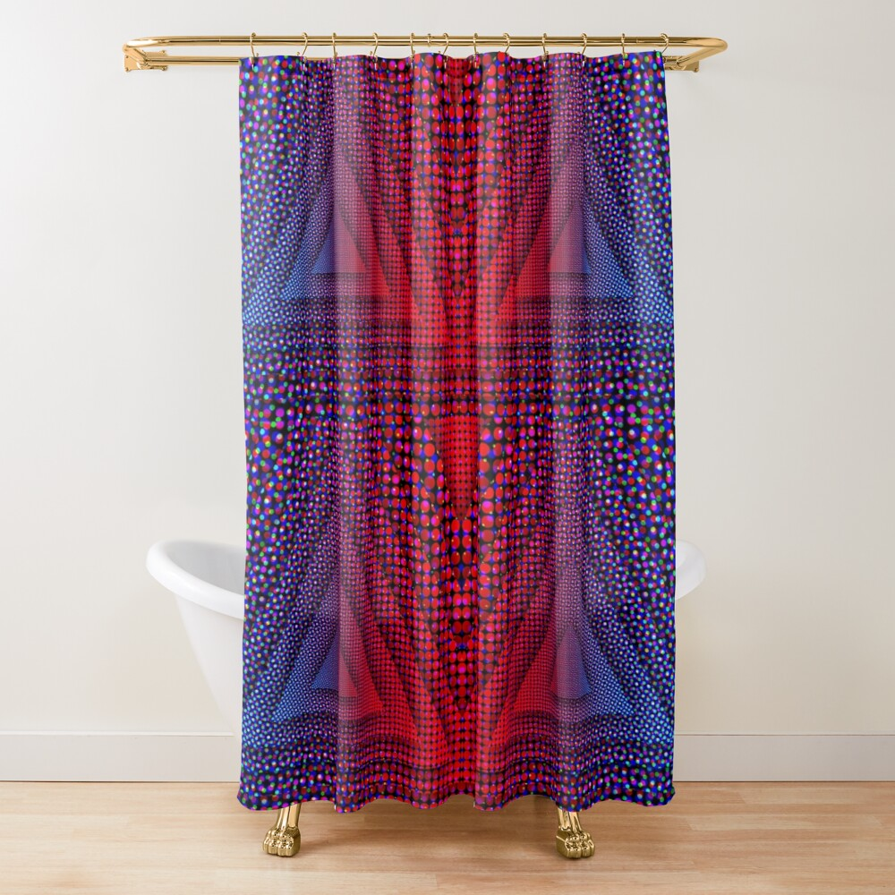 Red-B Chromatic Quad Triforce Shower Curtain