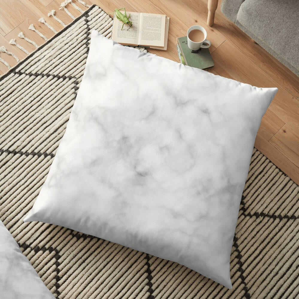 Light Grey Marble Floor Pillow