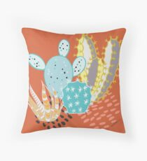 Terra-cotta Cactus Throw Pillow