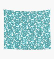 Teal Seagulls Wall Tapestry