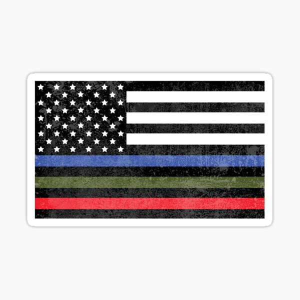 Police, Military and Fire Flag (Version 3) Sticker