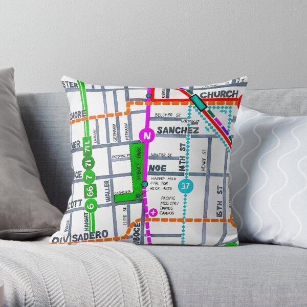 San Francisco map - Duboce Park Throw Pillow