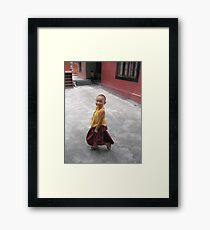 dancing by. young tibetan monk - india Framed Print