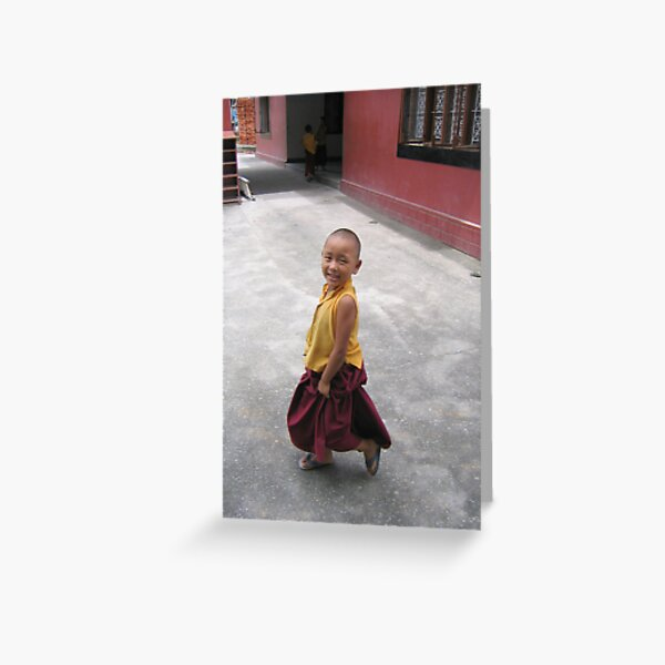 dancing by. young tibetan monk - india Greeting Card