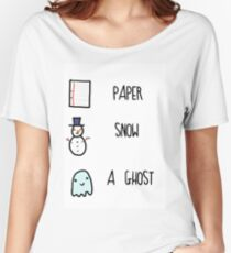 Paper, Snow, a Ghost!! Women's Relaxed Fit T-Shirt