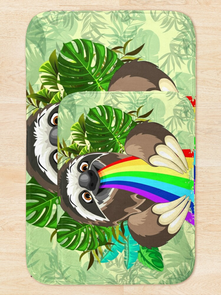 Alternate view of Sloth Spitting Rainbow Colors Bath Mat