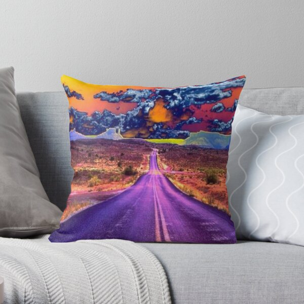 Psychedelic Road Scene Throw Pillow