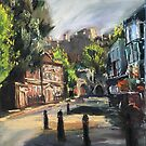 A Street in Windsor with a view of Windsor Castle by Maggie  Carroll