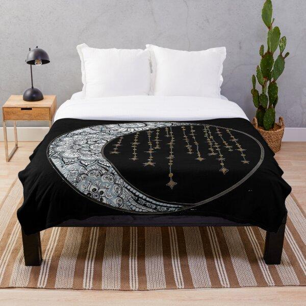 Star Strung Moon: glimmer (black backround) Throw Blanket