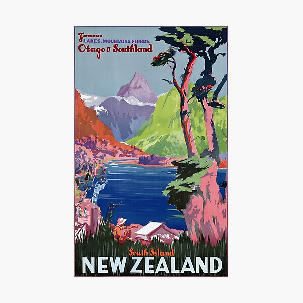 South Island New Zealand Vintage Poster Restored Photographic Print