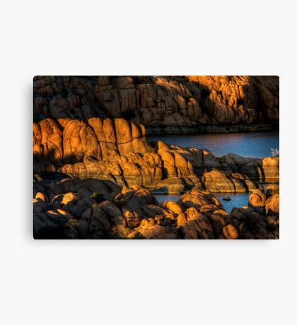 Light Play On Watson Lake Canvas Print