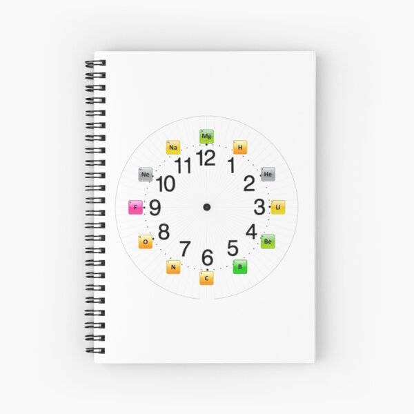 Chemical Elements Wall Clock Spiral Notebook