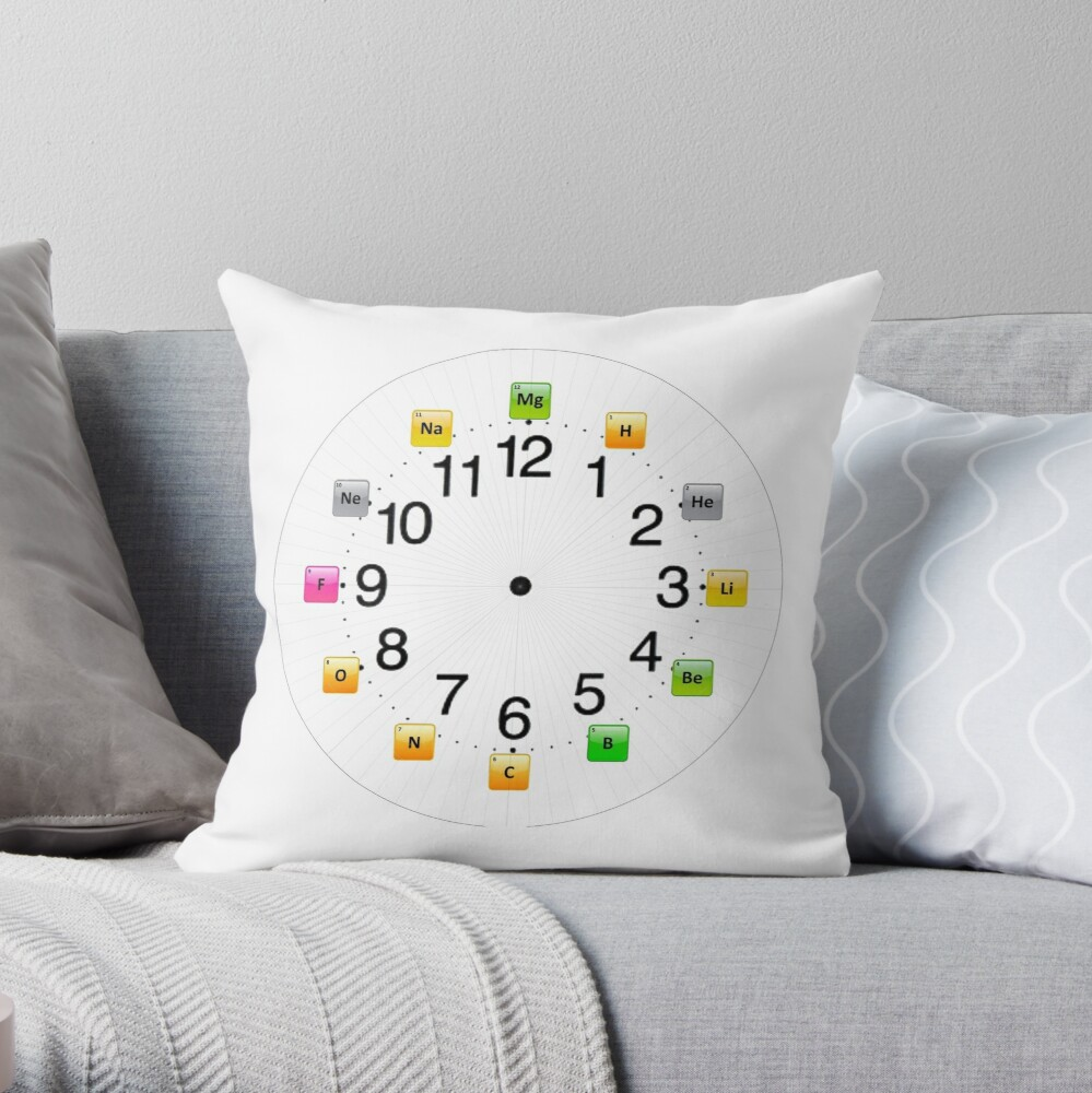 Chemical Elements Wall Clock Throw Pillow