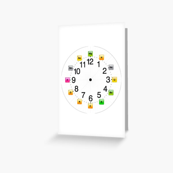 Chemical Elements Wall Clock Greeting Card