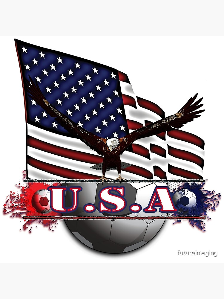 Red White & Blue USA Soccer with Eagle & Flag by futureimaging