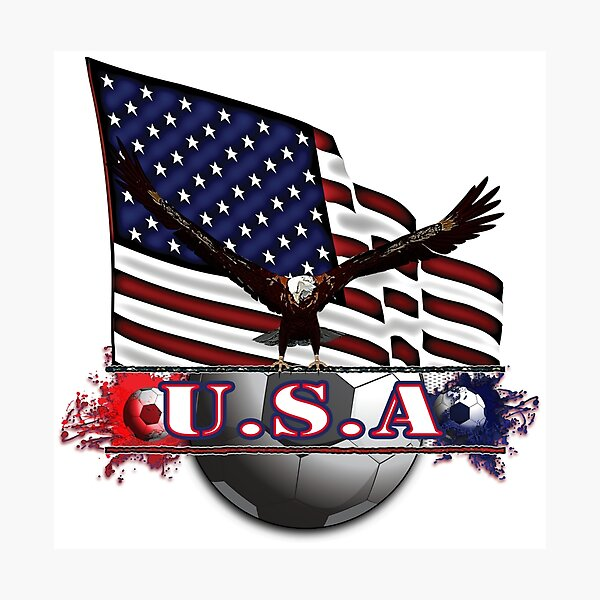 Red White & Blue USA Soccer with Eagle & Flag Photographic Print